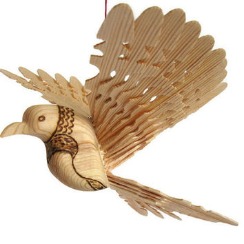 Woodland Baby Mobile, Hand Carved Bird From One Piece of Wood, Unique Woodworking Personalized Gift, Ceiling Fan Bird Art Natural Craft OOAK