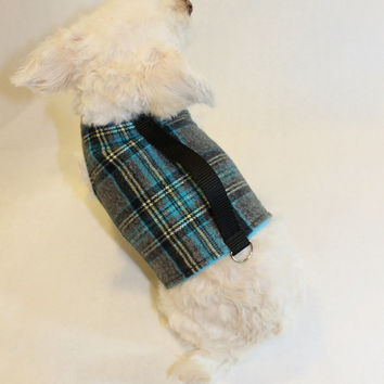 RockinDogs Gray and Turquoise Plaid Flannel and Fleece Dog Harness