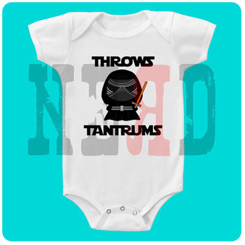 KYLO REN throws tantrums Star Wars bodysuit, creeper, tee, bib or burp cloth