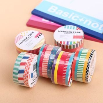 9pcs Dots & Stripes Decorative Washi Tape