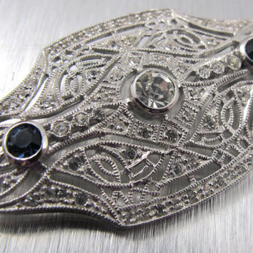 Vintage Sterling Jenna Nicole Brooch Art Deco Style Filigree Sapphire Clear Swarovski Crystals