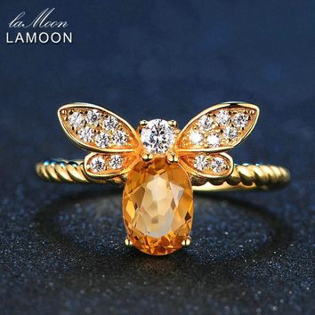LAMOON Bee 5x7mm 1ct Natural Oval Citrine 925 Sterling Silver Jewelry  Wedding Ring with 14K Gold f07cc7b33d2a