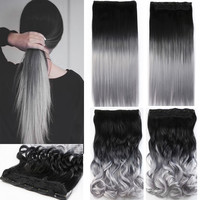 One Piece Hair Pad 24inch 60cm Lady Women Hairpieces Straight or Curly Black to Silver Grey Ombre Color Clip In On Hair Extensions B20