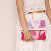 RESERVED / KELLY 24  / Dyed cotton & Natural leather folded clutch bag - Ready to Ship