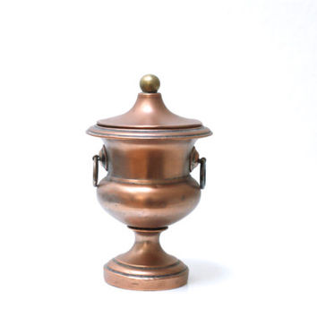 COPPER Plated Urn or Container, Small Ice Holder or Ice Bucket, Rustic Modern, Stamped, Marked, Swiss or German, Bar Cart Decor, Bonboniere
