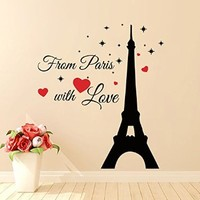Wall Decals Quote From Paris with Love Decal Vinyl Sticker Eiffel Tower Bedroom Kitchen Home Decor Dorm Living Interior Art Murals MN461