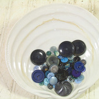 Vintage Variety of Shades of Blue Buttons Collection - Buttons for Repurposing Upscaling Upcycling - 55 Buttons