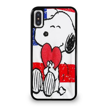SNOOPY HEARTS AMERICA GIRLS PEANUTS iPhone 5/5S/SE 5C 6/6S 7 8 Plus X/XS Max XR Case Cover