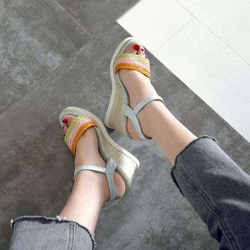 Women Woven Wedges Sandals Ankle Straps Pumps Platform High-heeled Shoes