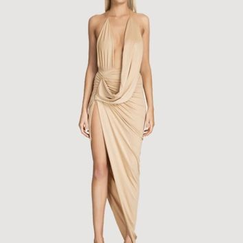 Plunging Draped Neck Dress