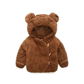 Baby Girl Jacket With Gloves Cartoon Bear Faux Fur Jackets For Boys Casual Thick Warm Quilted Jacket For Girls Winter Boys Coat