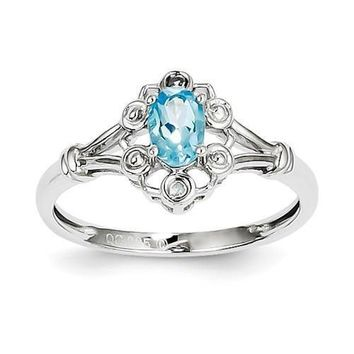 Sterling Silver Swiss Blue Topaz & Diamond Ring