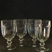 Libbey Duratuff Clear Water Goblets, Set of 4 Gibraltar Clear Glass Goblets, Large Wine Glasses, Vintage Stemware