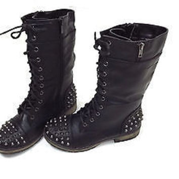 FOREVER womens BLACK Spiked Metal Stud  PUNK Rock  3/4 Boots Shoes size 7.5 M