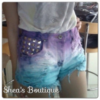 Dip Dye Cut Off Shorts With Studs Purple/Blue