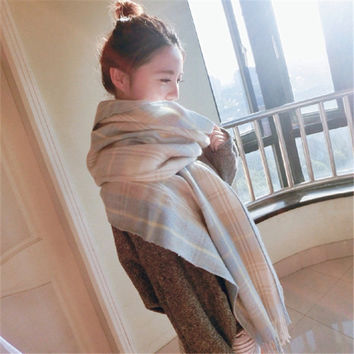 Women Fashion Wool Plaid Thicken Scarf (200*65cm) [9572880655]