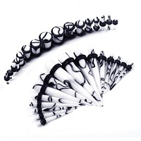 BodyJ4You Gauges Kit 16 Pairs Black on White Marbled Acrylic Tapers Plugs 14G 12 G10G 8G 6G 4G 2G 0G 32 Pieces