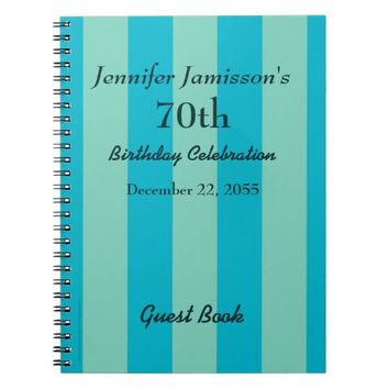 70th Birthday Party Guest Book Blue & Green Stripe