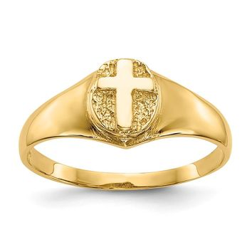 14K Yellow Gold Childs Polished Cross Ring