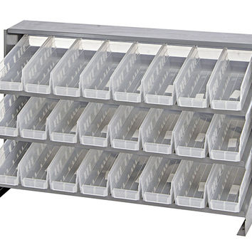 Quantum 24 QSB101CL Clear-View Bin Storage Sloped Shelving Bench Pick Rack System 12-1/2 X 36 X 23