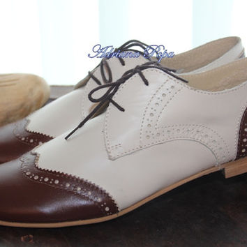 Oxford shoes Beige & Brown Lady Oxford Shoes Mafia Oxford Customized shoes