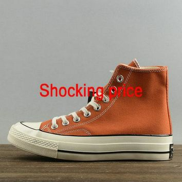 2018 Buy Unisex Converse Chuck Taylor All Star 1970s High Cadmium Orange White 157569 shoe