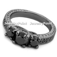 1.65ct Black Diamond Engagement Ring 14k Black Gold 3 Stone Vintage Antique Style