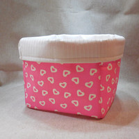Pretty Pink Valentine Heart Fabric Basket