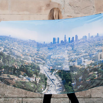 Trendy LA/Los Angeles City Digital Printed Blue Scarf/ Wall Hanging Free UK Delivery