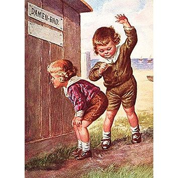 Boy Peeking into Ladies Outhouse Bathroom Picture on Stretched Canvas Wall Art Décor, Ready to Hang!