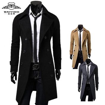 BAIYIMO 2016 Fashion New Long Trench Coat Men Double-breasted Windproof Sobretudo Masculino Slim Fit Mens Overcoat Plus Size