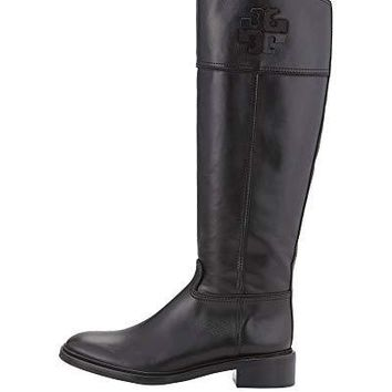Tory Burch Lowell 2 Logo Riding Boot EXT Women's Leather Shoes 50870