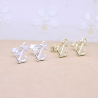 925 sterling silver anchor earrings
