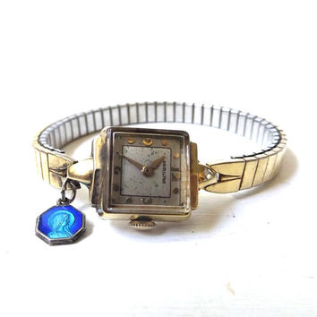 vintage 1940's hamilton watch 14k gold womens wrist stretch band jewelry old antique ladies fashion accessories accessory religious mary