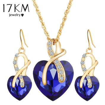 17KM Gold Heart-Shaped Love Crystal Necklace and Earring Set