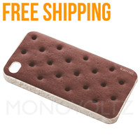Cute Sweet Ice Cream Sandwich Cookie Design iPhone 4 / 4S Hard Shell Cover Case