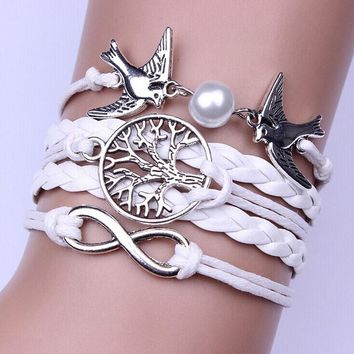 Infinity Handmade Adjustable Pigeon Leather Multilayer Bracelet Wristband