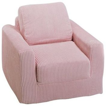 Fun Furnishings Chenille Chair Sleeper in Pink