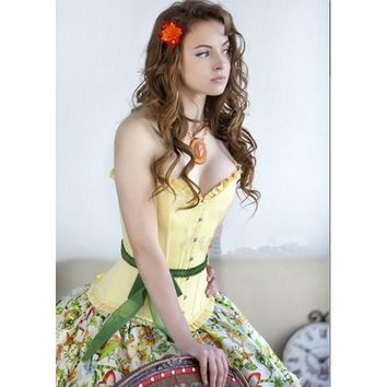 Yellow Satin Bustier with Belt