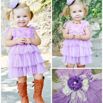 Girls Peach Flower Girl Dress // Toddler Girls Party Dress // Peach Rosette Wedding Dress