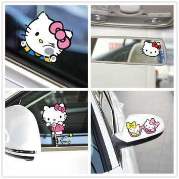 Car Stickers Hello Kitty Cartoon Cute Pink Lovely Creative Decals For Tail Fuel Cap Waterproof Reflective Auto Tuning StylingD11