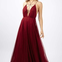 PETITE Tulle Lace Maxi Dress