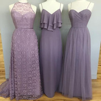 long bridesmaid Dress,dusty purple bridesmaid Dress,lace bridesmaid dress,mismatched bridesmaid dress,PD710
