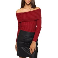 [14837] Knit Top Long Sleeves Off The Shoulder