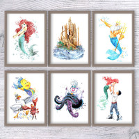 Disney princess Ariel poster Set of 6 Disney watercolor print Nursery room wall art Kids room decor Disney castle art Baby shower gift V314