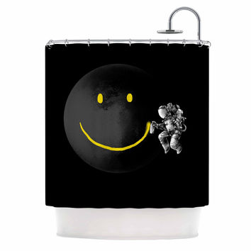 "Digital Carbine ""Make A Smile"" Black Yellow Shower Curtain"
