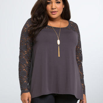 Lace Inset Sweetheart Top