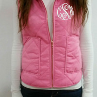 Monogrammed Preppy Pink Quilted Vest by tinytulip on Etsy