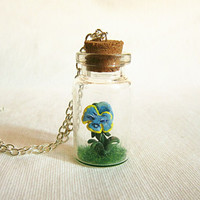 Alice in Wonderland Flowers Bottle Necklace, Miniature terrarium, Tiny bottle necklace MADE TO ORDER