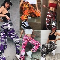Womens Camo Cargo Trousers Military Combat Camouflage Jogger Dance Casual Pants